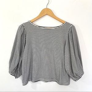 14th and Union Stripe Puff Sleeve Top Small